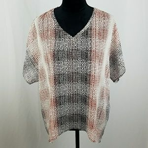 CAbi #240 women S blouse shirt cover up tee brown